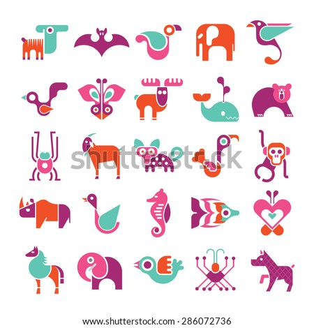 Animals, birds and fishes - large vector icon set. Various isolated colorful clip arts on white background. Can be used as logo.  - stock vector