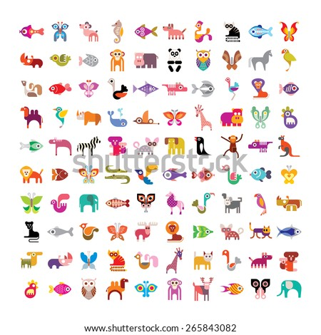 Animals, birds, fishes and butterflies large vector icon set. Various isolated colorful images on white background.  - stock vector