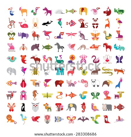 Animals, birds, fishes and insects large vector icon set. Various isolated colorful images on white background. - stock vector
