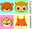 Animals cartoon characters for avatar - stock vector