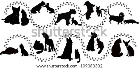 animals cats and dogs traces of the vector - stock vector