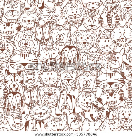 Animals. Cats and Dogs Vector Seamless pattern. Hand Drawn Doodles Pets. Cute Cats and Dogs Black and White background. - stock vector