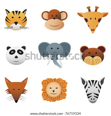 Animals 1 Collection color icons featuring funny wild animals - stock vector