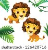 Animals Collections: Lions with Tropical Frame - stock vector