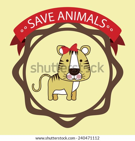 Animals design over beige background, vector illustration