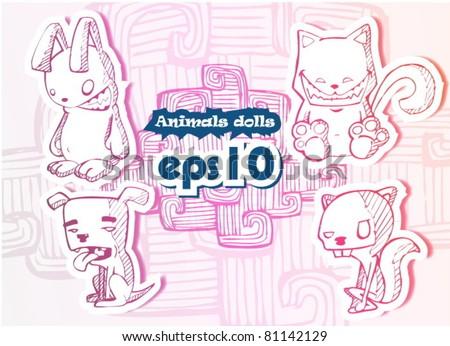 animals dolls. vector illustration - stock vector