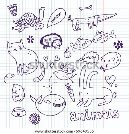 Animals doodle set - stock vector