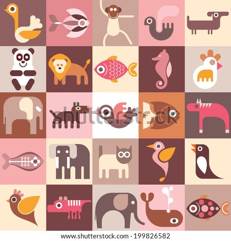 Animals, fishes and birds vector collage. - stock vector