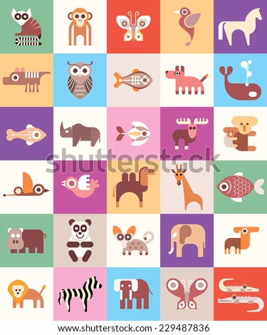 Animals, Fishes and Birds - vector illustration. Animal icon set. Seamless background. - stock vector
