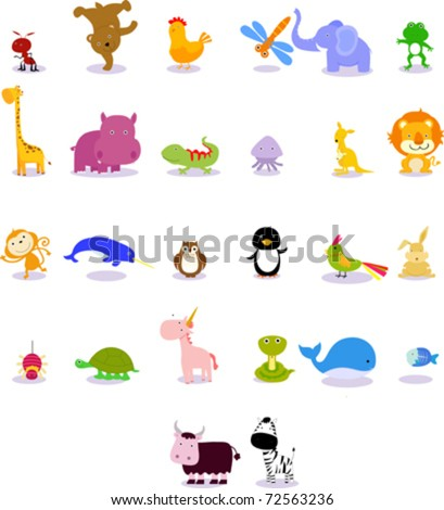 Animals from animal alphabet - stock vector