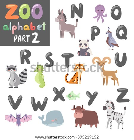 Animals funny alphabet font and wildlife animals alphabet symbol vector. Colorful vector zoo english alphabet with cartoon animals vector isolated on white background.  - stock vector