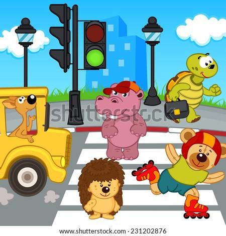 animals go across crosswalk - vector illustration, eps - stock vector