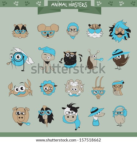 Animals Hipster Set - Isolated On Gray Background - Vector Illustration, Graphic Design Editable For Your Design.  - stock vector