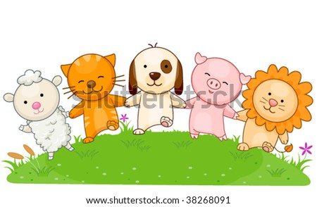 Animals holding each others hands - Vector - stock vector