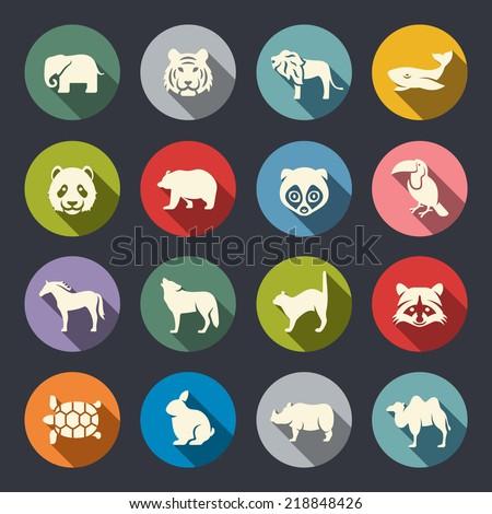 Animals icon set - stock vector