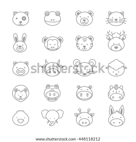 Animals Icons Line Set Of Vector Illustration - stock vector