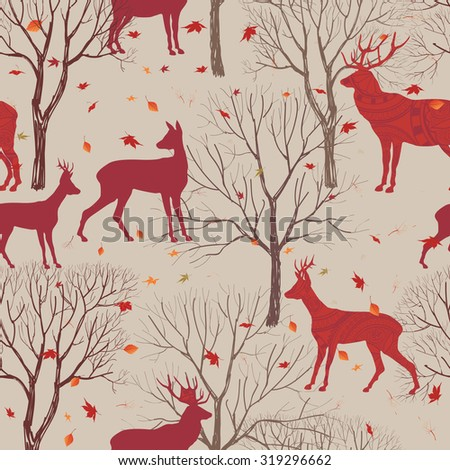 Animals in autumn forest pattern. Fall leaves and trees seamless background. Deer Vintage Christmas elements. Reindeer seamless pattern background. Editable vector texture. - stock vector