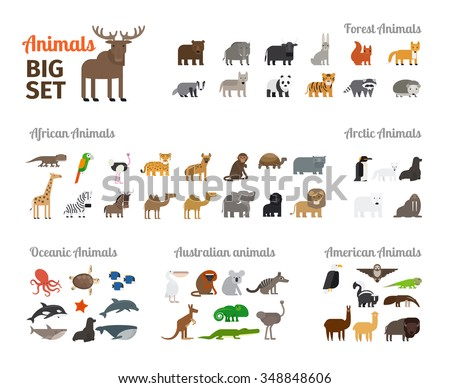 Animals in flat style big set. Forest animals and animals from different continents. Vector illustration. - stock vector