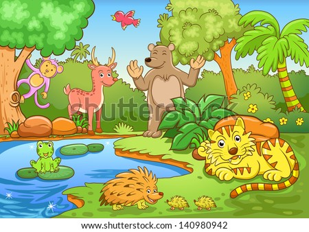 animals in forest. EPS10 File - simple Gradients, no Effects, no mesh, no Transparencies.All in separate group for easy editing. - stock vector