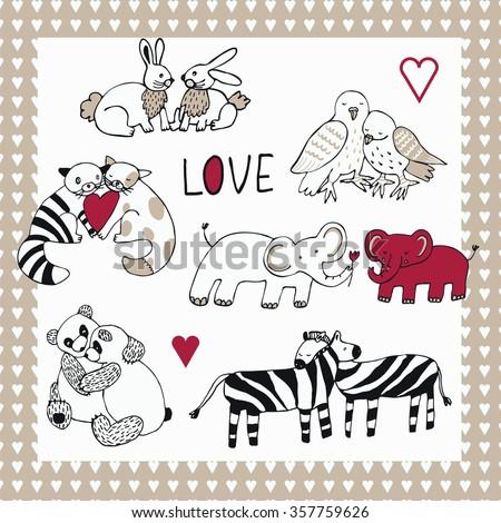 Animals in love set - stock vector
