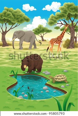 Animals in the nature. Vector realistic illustration. - stock vector