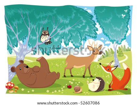 Animals in the wood. Funny cartoon and vector illustration - stock vector