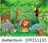 animals in tropical jungle - stock vector