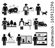 Animals Jobs Occupations Careers - Zookeeper, Exterminator, Dog Trainer, Wildlife Officer, Groomer, Control, Dolphin, Shelter, Aquarium - Stick Figure Pictogram - stock vector