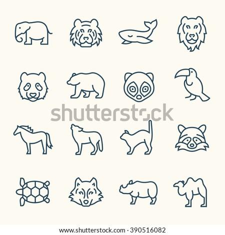 Animals line icons - stock vector