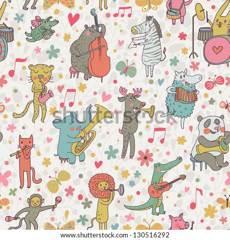 Animals musicians: lion, leopard, elephant, pig, cat, dog, panda, bear, elk, alligator, monkey, sheep, rabbit and zebra in cartoon seamless pattern in vector - stock vector