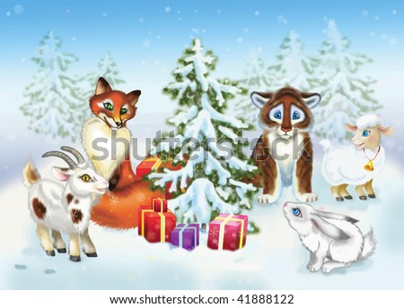 Animals note new year - stock vector