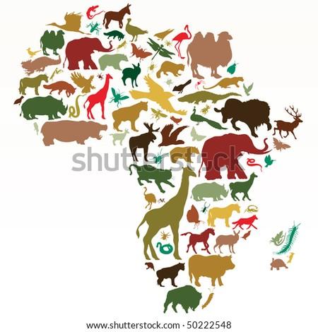 animals of africa - stock vector