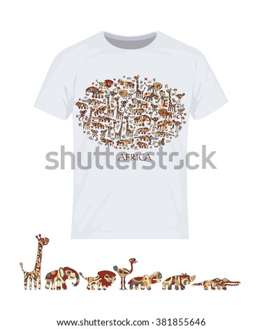 Animals of Africa. Vector design for printing on T-shirts. Eps10 file comfortable for editing.  - stock vector