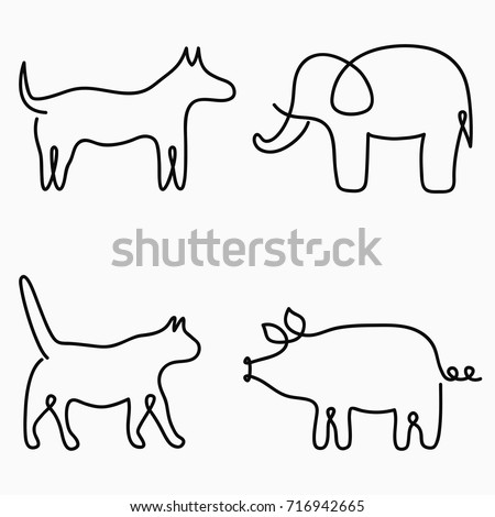 Animals one line drawing continuous line print cat dog pig elephant