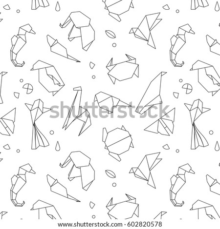 Animals Origami Pattern Snake Elephant Bird Seahorse Frog Fox Mouse