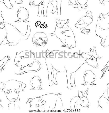 Animals pets vector pattern