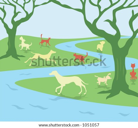 animals playing in field - stock vector