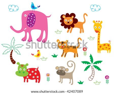 animals poster - stock vector