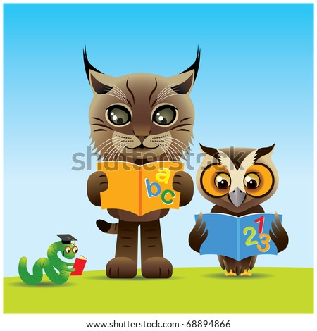 Animals Reading, image is part of my lynx collection. - stock vector