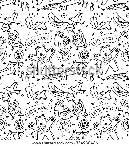 Animals seamless pattern. Collection of doodles design elements with wild animals and objects seamless pattern. Monochrome vector illustration. EPS8