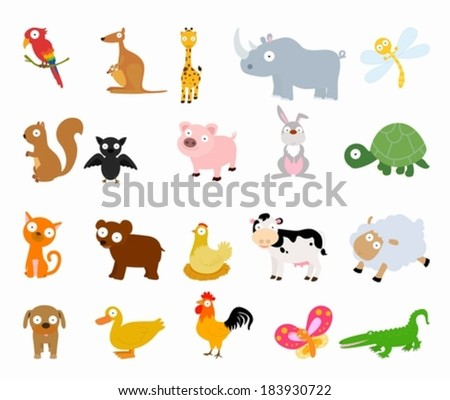 Animals set - stock vector