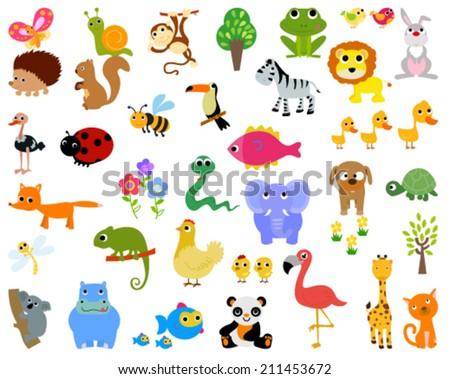 Animals set - stock vector