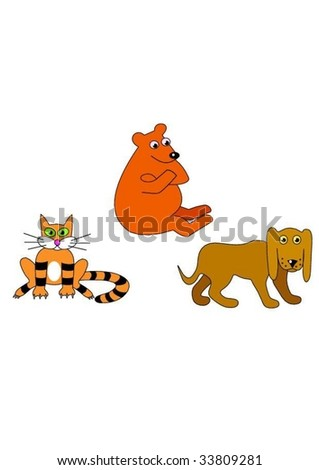 Animals set. Cat, dog and bear.Isolated Vector Illustration.
