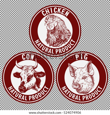animals set, cow, pig, chicken hand drawn vector illustration sketch.  logo design template. farm icon
