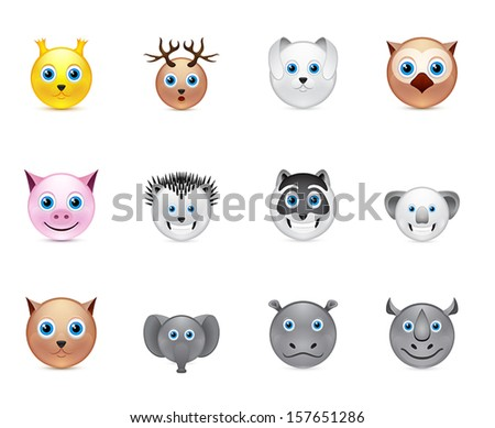 animals smile icons set collection - stock vector
