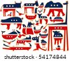 animals vector against white background, with stylized american flag; abstract vector art illustration - stock vector
