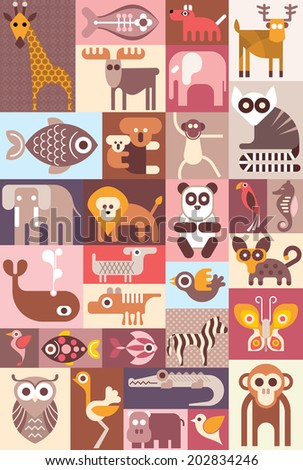Animals - vector illustration. Graphic design with animal icons. - stock vector