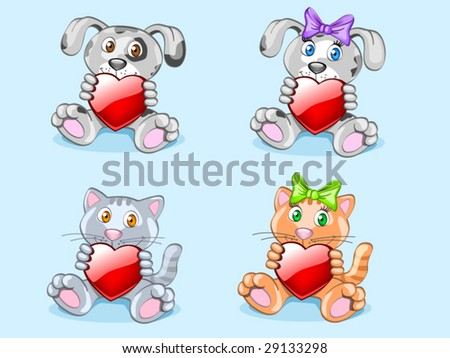 animals with hearts (editable layers) - stock vector