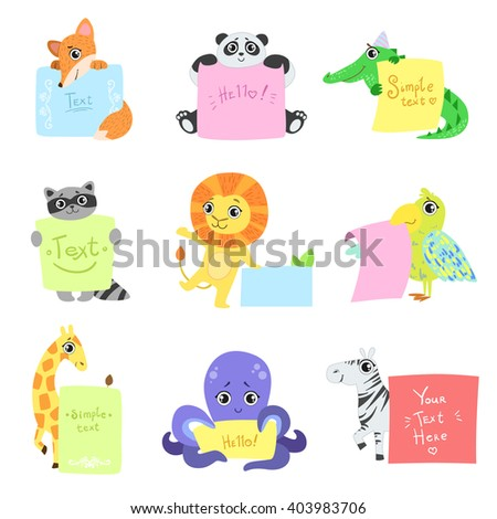Animals With Messages To Fill Set Of Vector Flat Isolated Icons In Cute Childish Colorful Design On White BAckground - stock vector