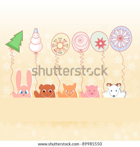 Animals with New Year\'s balloons.  Illustration on pastel background - stock vector